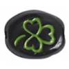 Glass Bead Oval/3 Leaf Clover Strung Black/Green